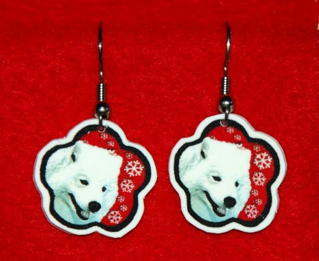 Samoyed Dog Red Snowflake Earrings Jewelry Handmade