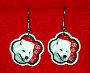 Samoyed Dog Red Snowflake Earrings Jewelry Handmade