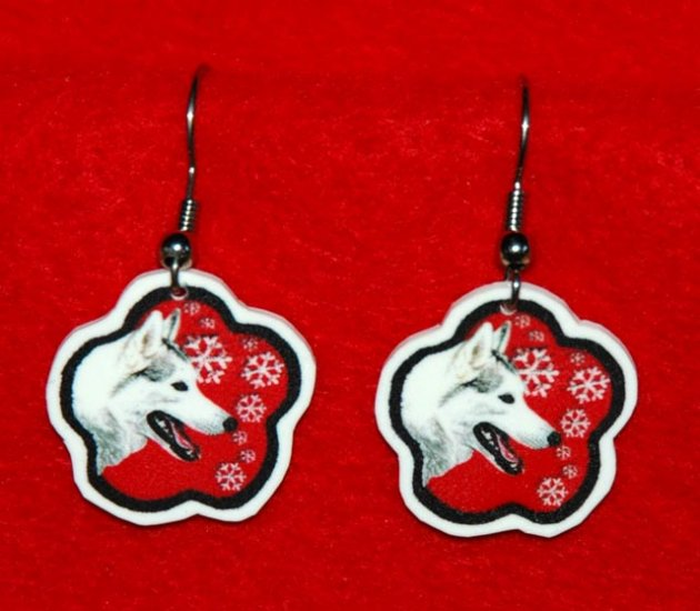 Siberian Husky Red Snowflake Christmas Earrings Jewelry Handmade
