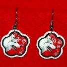 Siberian Husky Red Snowflake Christmas Earrings Jewelry Handmade