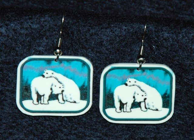 Polar Bear Bears Northern Lights Earrings Jewelry