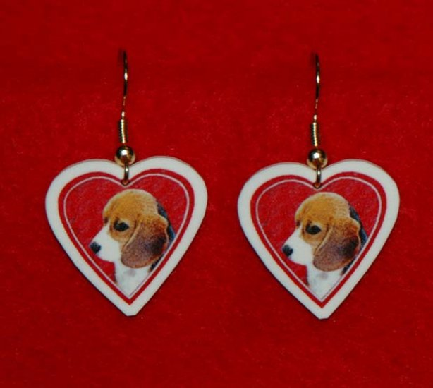 Beagle Puppy Dog Heart Jewelry Earrings Handmade