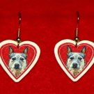 Australian Cattle Dog Heart Jewelry Earrings Handmade