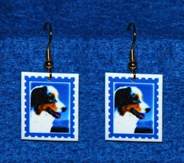 Australian Shepherd Dog Earrings Handmade