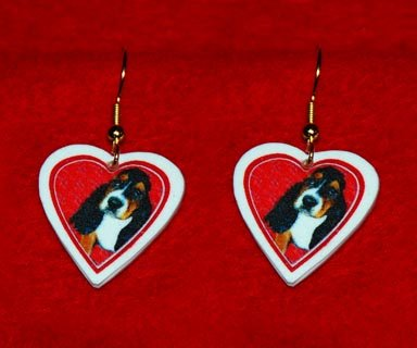 Basset Hound Puppy Heart Earrings Jewelry Handmade