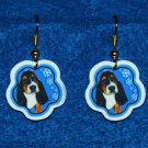 Basset Hound Puppy Dog Christmas Snowflake Earrings Jewelry Handmade