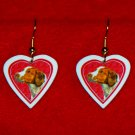 Brittany Spaniel Dog Heart Jewelry Earrings Handmade
