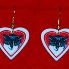 Black & White Tuxedo Cat Heart Valentine Earrings Jewelry Handmade