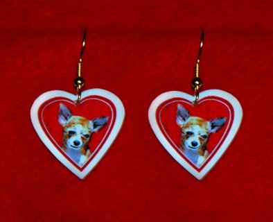 Chihuahua Dog Heart Valentine Earrings Jewelry