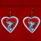 Chihuahua Dog Heart Valentine Earrings Jewelry