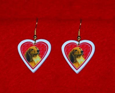 Dachshund Heart Valentine Earrings Jewelry