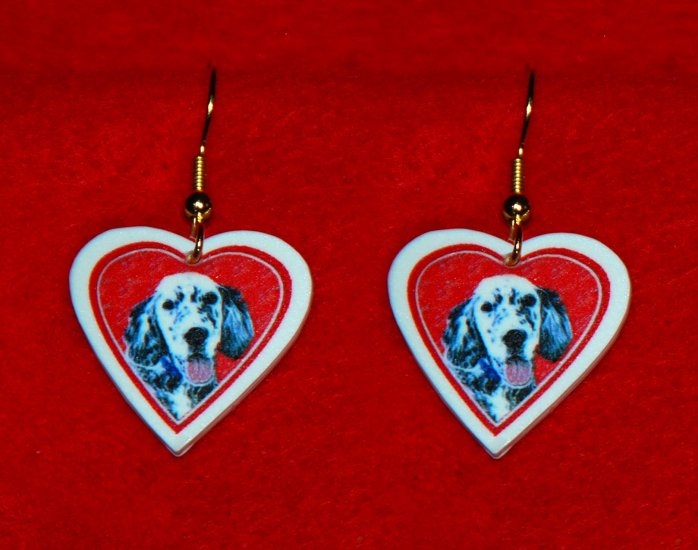 English Setter Dog Heart Earrings Jewelry Handmade