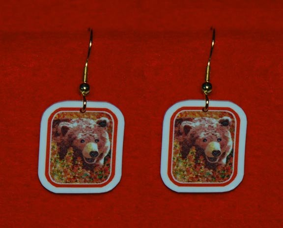 Grizzly Bear in Fireweed Earrings Handmade