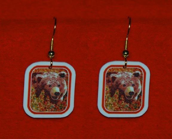 Grizzly Bear in Fireweed Earrings Handmade