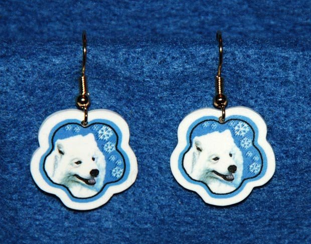 Samoyed Christmas Snowflake Earrings Handmade
