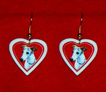 Whippet Heart Valentine Jewelry Earrings Handmade
