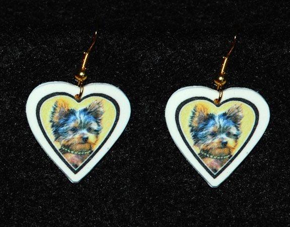 Yorkshire Terrier Puppy Heart Jewelry Earrings Handmade