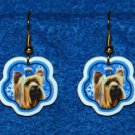 Yorkshire Terrier Jewelry Christmas Snowflake Earrings Handmade