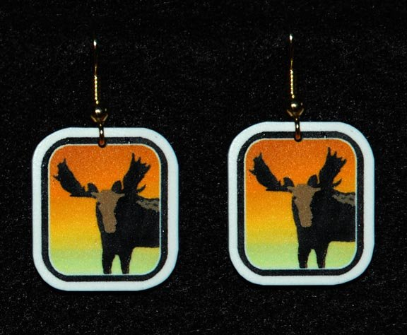 Moose Sunset Earrings - Handmade
