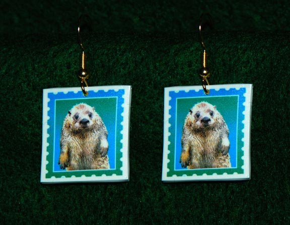 River Otter Earrings - Handmade