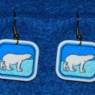 Polar Bear and Cub Earrings - Handmade