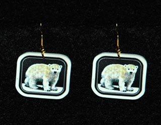 Polar Bear Cub Earrings - Handmade