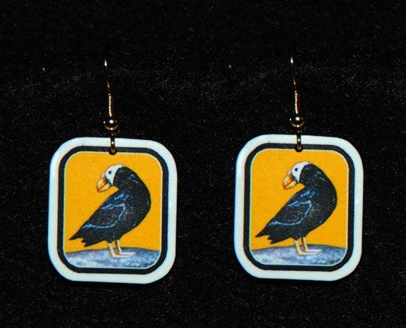 Puffin Earrings - Handmade