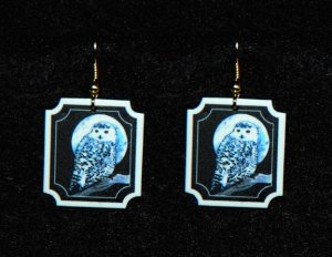 Snowy Owl and Moon Earrings - Handmade