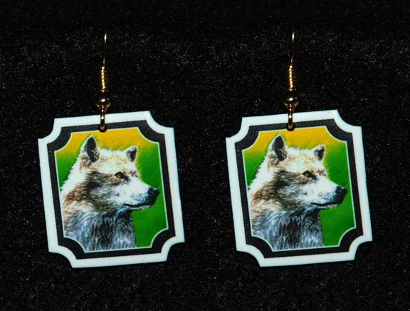 Wolf Earrings - Handmade