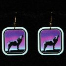 Howling Wolf Sunset Earrings - Handmade