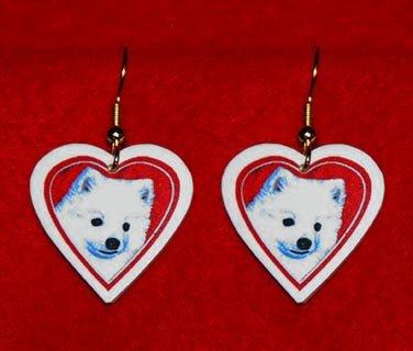 American Eskimo Eskie Heart Earrings Jewelry Handmade
