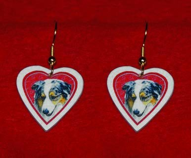 Australian Shepherd Heart Valentine Earrings Jewelry