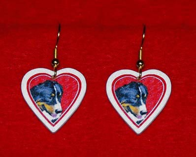 Bernese Mountain Dog Heart Valentine Earrings Jewelry