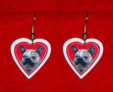 French Bulldog Frenchie Heart Jewelry Earrings Handmade