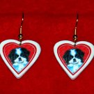 Japanese Chin Puppy Dog Heart Earrings Jewelry