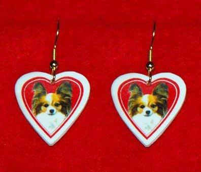 Papillon Dog Heart Earrings Jewelry Handmade