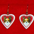 Papillon Dog Heart Earrings Jewelry Handmade