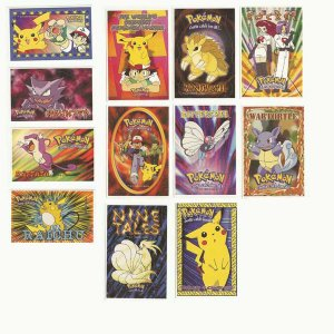 Pokemon Stickers Set of Twelve - 4X2 3/4 inches
