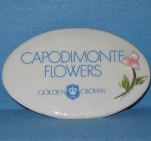 E&R Golden Crown CAPODIMONTE FLOWERS SIGN RARE Vintage