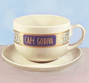New CAFE GODIVA Mug & Saucer Oversized, Godiva Chocolate