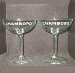 (2) CHAMBORD Liqueur stemmed Cocktail Champagne glasses NEW