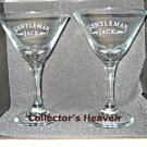 (2) GENTLEMAN JACK Daniels Glasses Cocktail Martini NEW