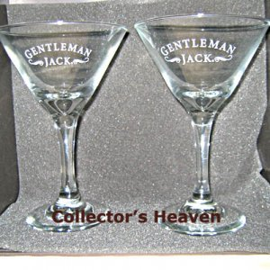 (2) GENTLEMAN JACK Daniels Stemmed Cocktail Martini Glasses NEW