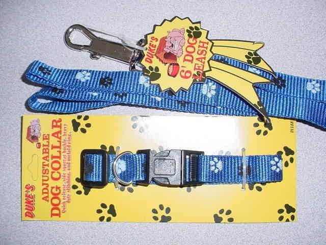 Blue Paw Print Collar & Lead Set