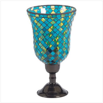 Turquoise Mosaic Glass Hurricane Lamp