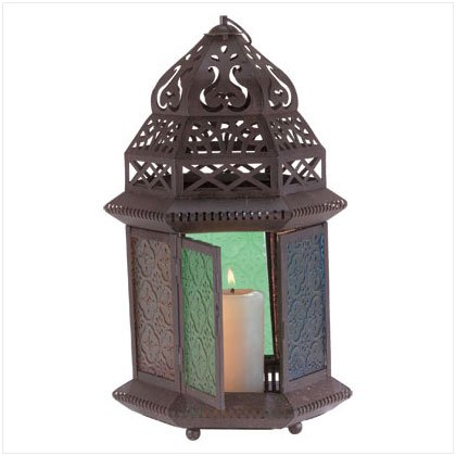 MORROCCAN COLOR GLASS LANTERN 33144