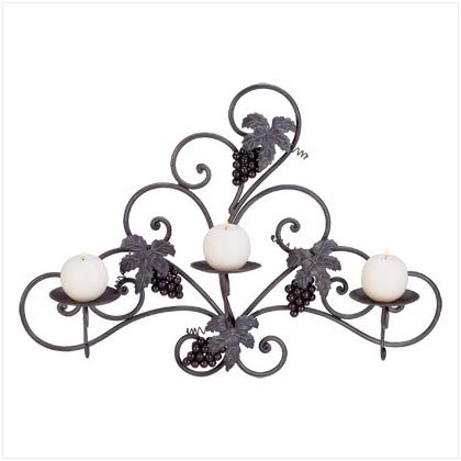 Grapes Metal Wall Candleholder 34276