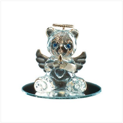 April Glass Angel Bear with Heart 35070