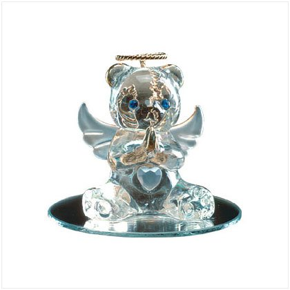 June Glass Angel Bear with Heart 35072