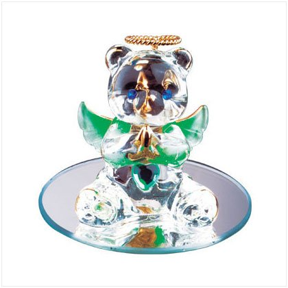 Aug Glass Angel Bear with Heart 35074
